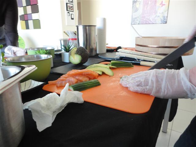 La mise en place pour la création des sushis