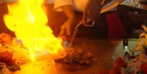 Tepanyaki flambé au saké
